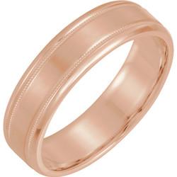 Lightweight Beveled Rose Gold Men's Band  - 51287
