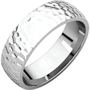 Comfort Fit Light White Gold Men's Band Hammered finish