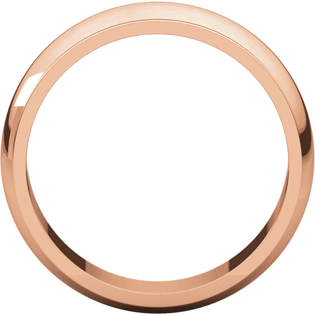 Half Round Edge Men's Band Rose Gold through view