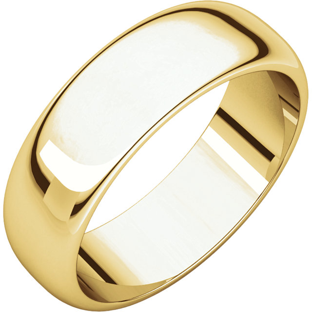Half Round Men's Band Yellow Gold