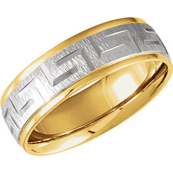 Greek Key Comfort Fit Ring 7mm White and Yellow Gold - 50680