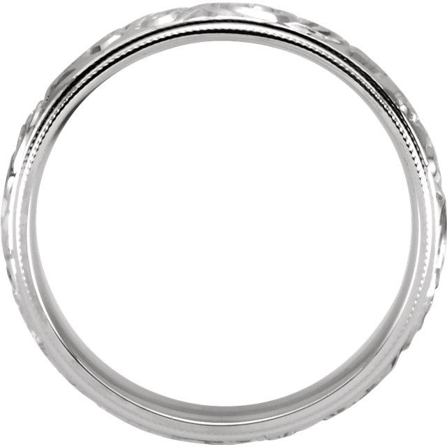 Design Sculptured Milgrain 6mm Band White Gold through view - 50066