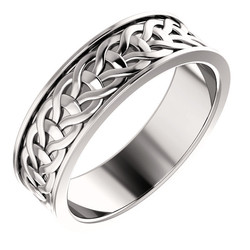 White Gold 7mm Woven Design - 51862