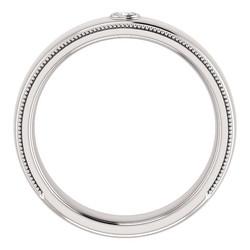 Solitaire Bezel Set Milgrain Band White Gold through view - 123214
