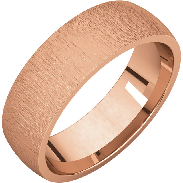 Comfort Fit Light Rose Gold Men's Band Stone finish