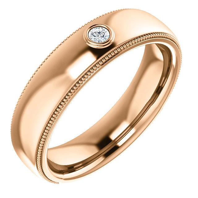 Solitaire Bezel Set Milgrain Band Rose Gold - 123214