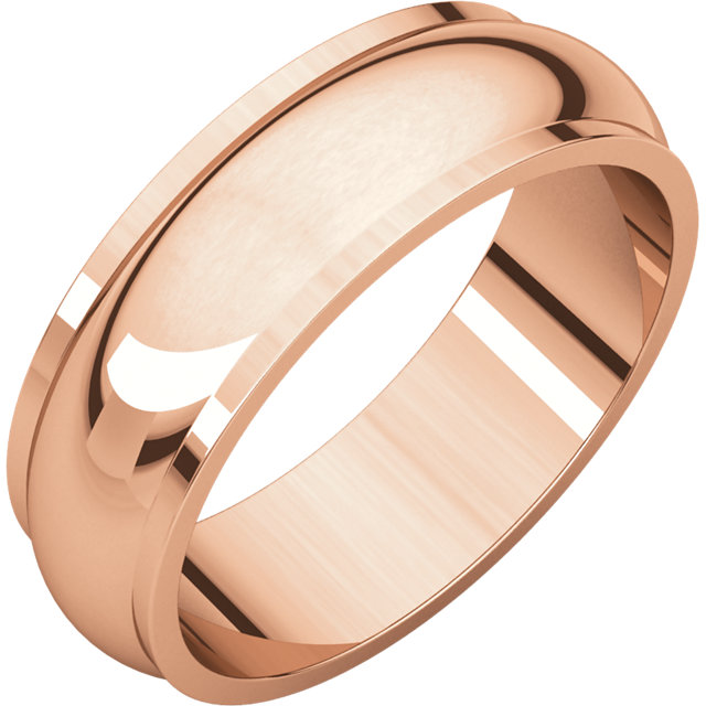 Half Round Edge Men's Band Rose Gold