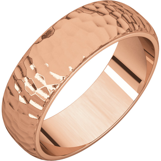 Half Round Men's Band Rose Gold Hammered finish