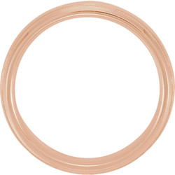 Half Round Comfort Fit Milgrain Rose Gold Men's Band through view - 51542