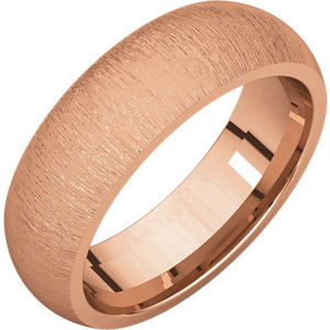 Comfort Fit Rose Gold Men's Band Stone finish