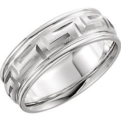 Greek Key Comfor Fit Ring 7mm - 50680