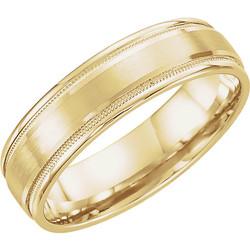 Flat Edge Milgrain Comfort Fit Brushed Yellow Gold Men's Band - 51538