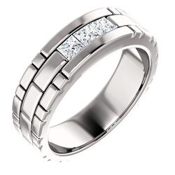 Three Stone Band Square Cut Diamonds - 123522