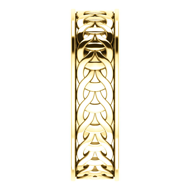 Yellow Gold 7mm Woven Design side view- 51862