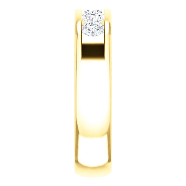 Five Stone 3.8mm Round Diamond Men's Band Yellow Gold side view - 122785