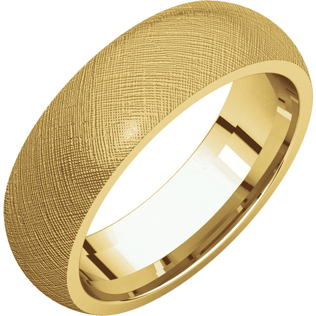 Comfort Fit Yellow Gold Men's Band Florentine finish