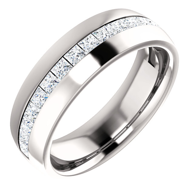 Diamond Center Accented Band with Square Cut Diamonds 2.2x2.2mm - 123307