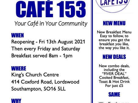 Café 153 - King's Church Community Café Reopening on Friday 13th August