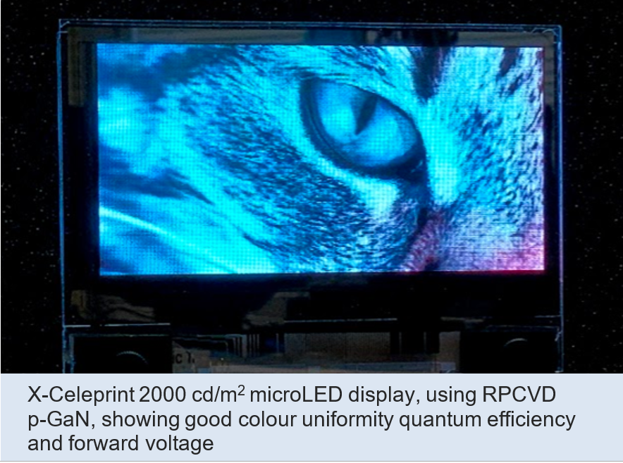 X-Celeprint 2000cd/m2 microLED display, using RPCVD p-GaN