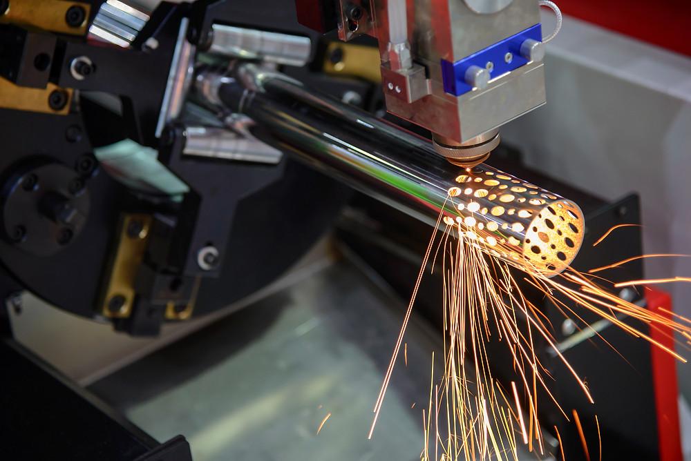 Laser industrial machining in action