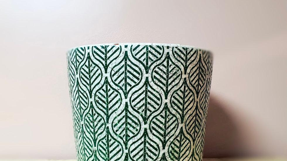 Large Green Vintage Dutch Pot - Geo pattern
