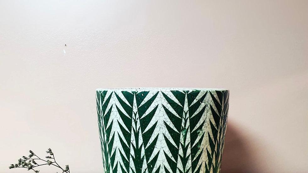 Large Green Vintage Dutch Pot - Palm pattern