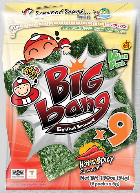 Big Bang Grilled Seaweed Spicy 1.90 oz (54g)