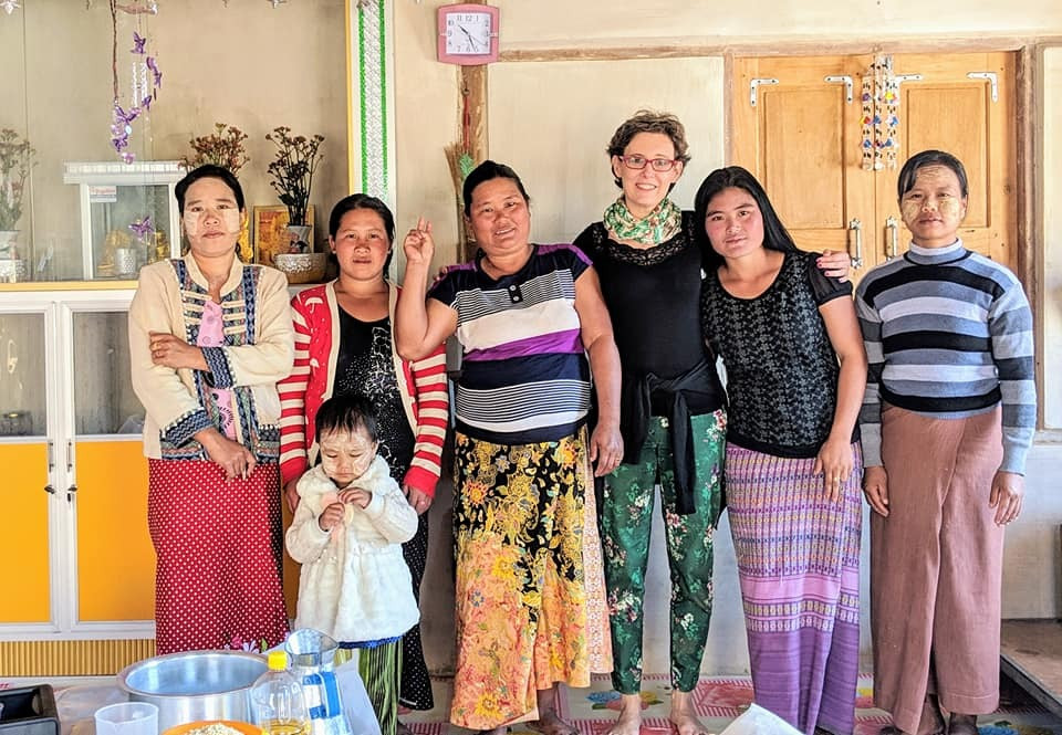 Dana and a group of entrepreneur women from the local villages in Myanmar