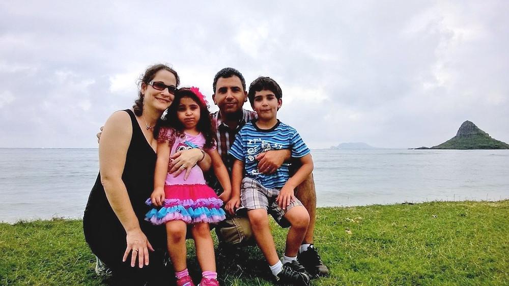 משפחת חן בחופשה בהוואי-ישראל, מאיה,אורי,טליה ועומרי בבטן