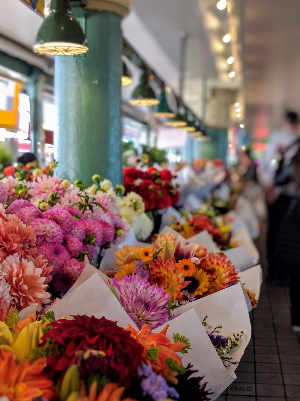 Flower market at Pike Place Market, Seattle