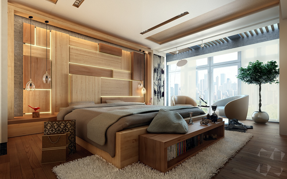contemporary-bedroom-plank-wall