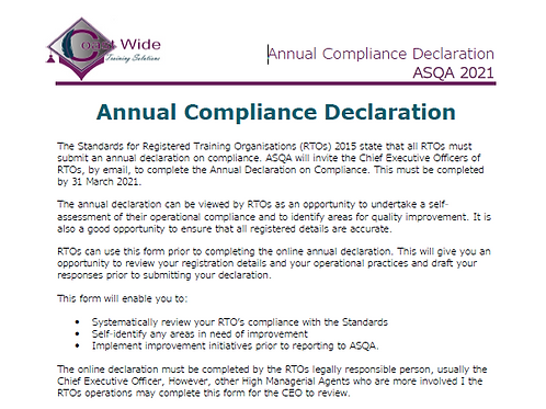 FREE Annual Compliance Declaration 2021 TEMPLATE