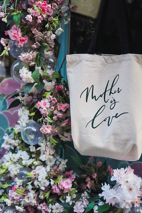 Mother is Love - Natural Tote Bags: Green/Pink