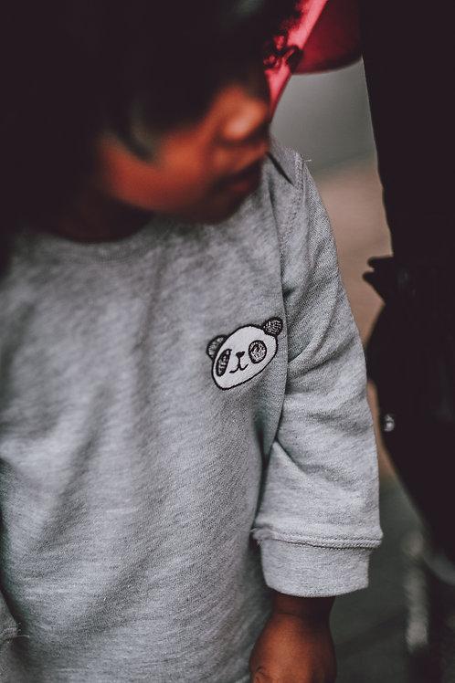 Little Panda Embroidered Sweatshirt - Grey - Baby/Toddler