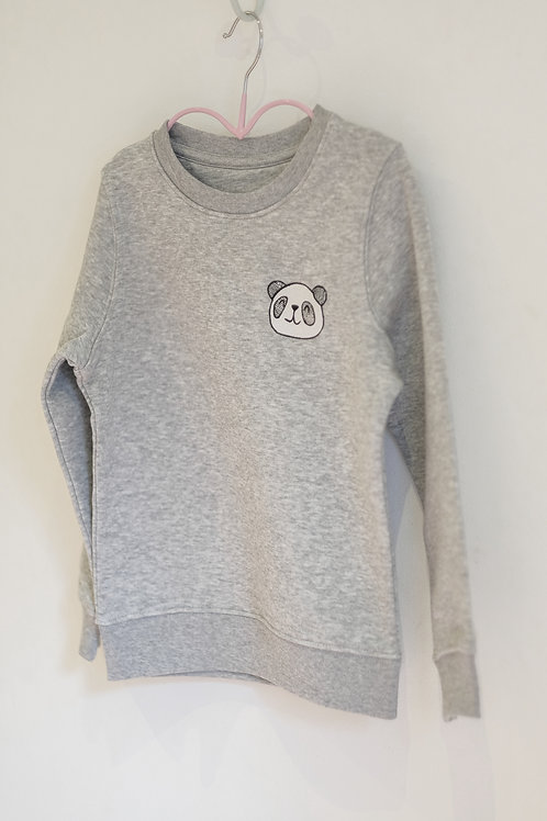 Little Panda Embroidered Sweatshirt - Grey - Kids