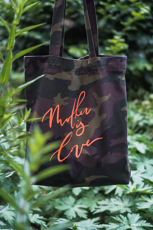 Camo Mother is Love Tote Bag