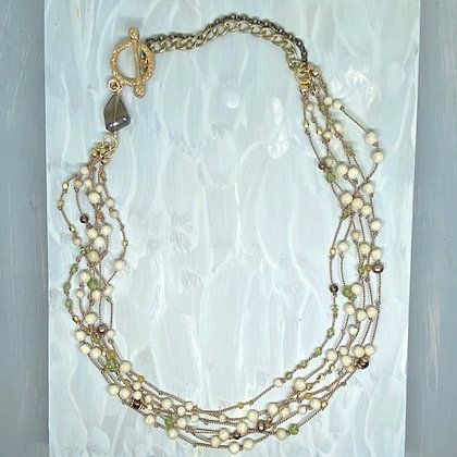 River Stone Peridot Quartz Necklace