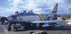 F-86F Sabre 52-4452 of the 36th FBS, 8th FBG at Suwon AB  South Korea in the spring of 1953. It was