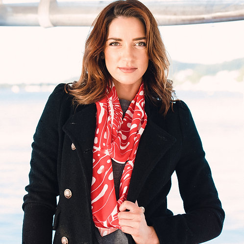 Coral Monstera Infinity Scarf