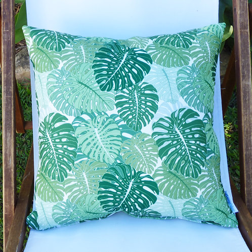 Emerald Monstera pattern cushion cover