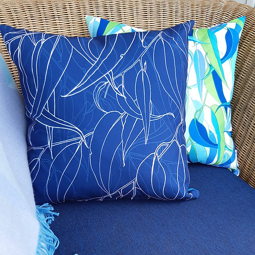 OUTDOOR INDOOR Navy Gum Leaf cushion cover
