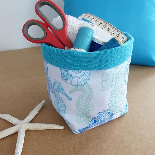Aqua seahorse fabric basket