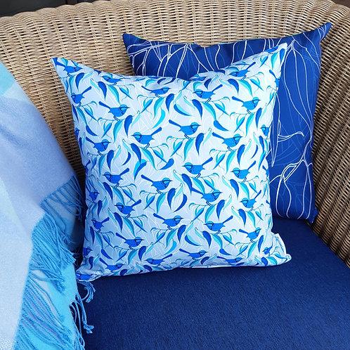 OUTDOOR INDOOR Blue Fairy Wren cushion cover