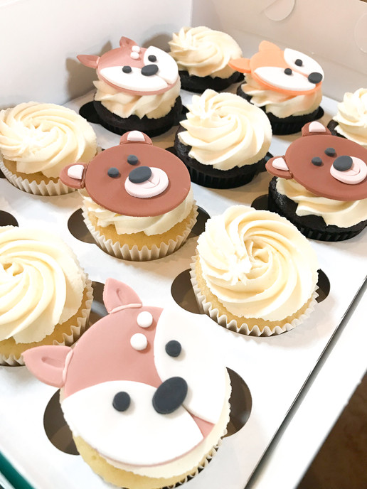 Woodland Animal Baby Shower Cupcakes