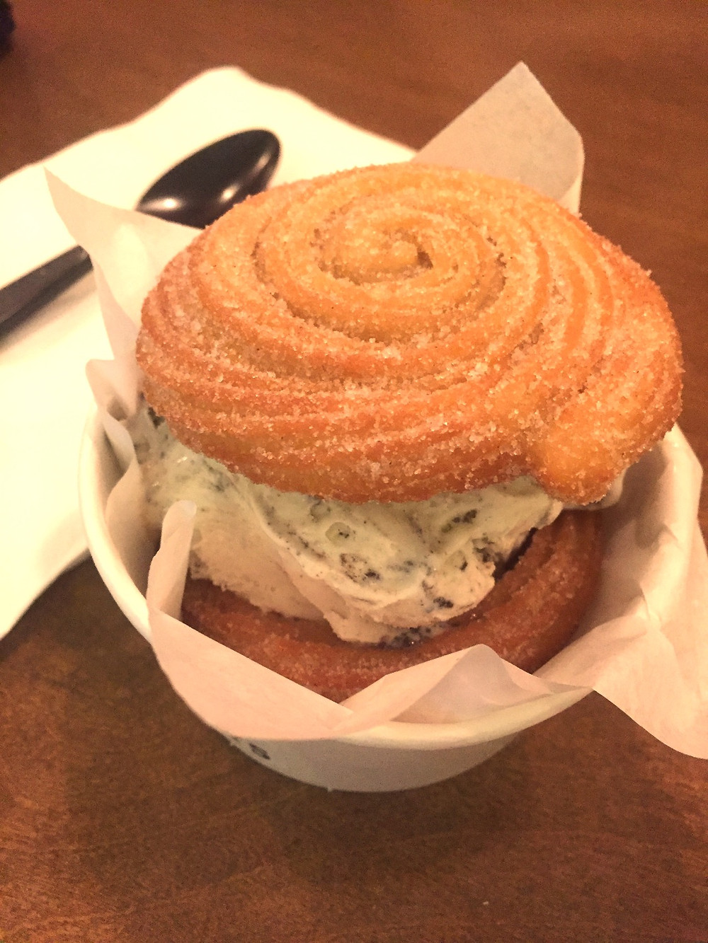 Churro Ice Cream Sandwich at Happy Days Cafe