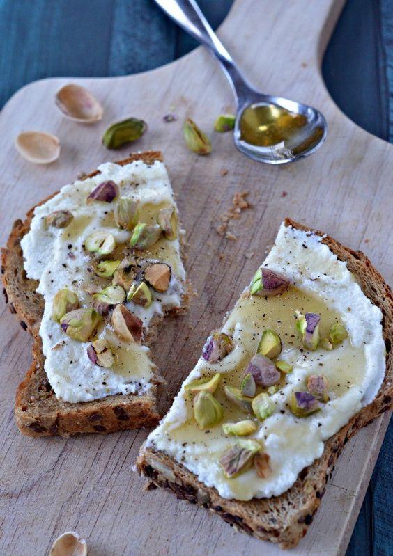 Ricotta Toast Honey and Pistachios