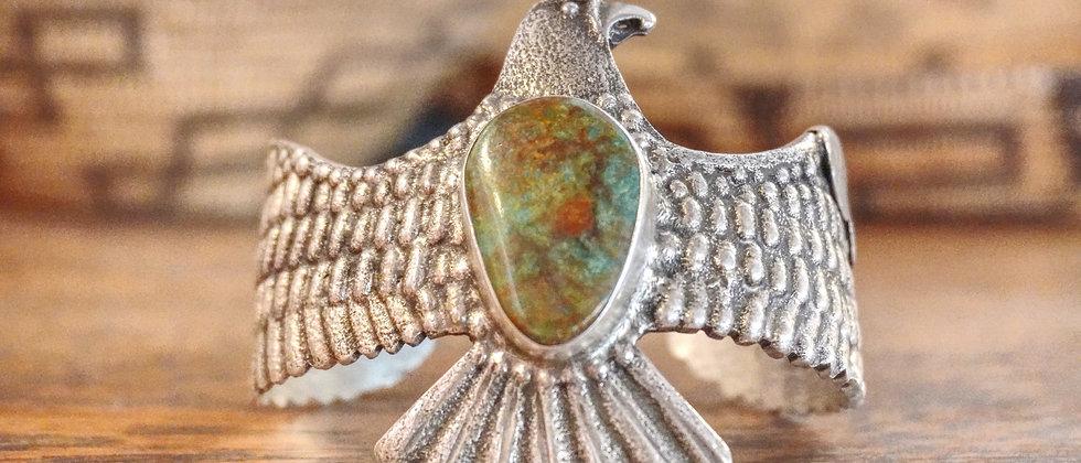 Tufa Cast Eagle Bracelet with Royston Turquoise