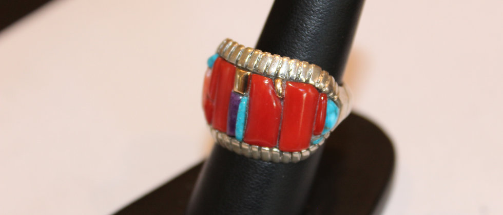 14k Gold, Turquoise, Coral and Sugilite Ring