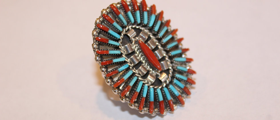 Zuni Needlepoint Ring with Turquoise & Coral