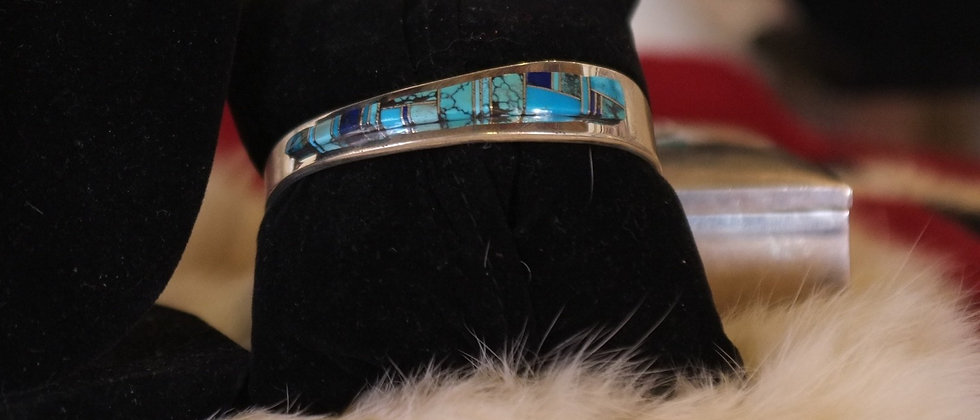 Turquoise& Sugilite Inlay Bracelet